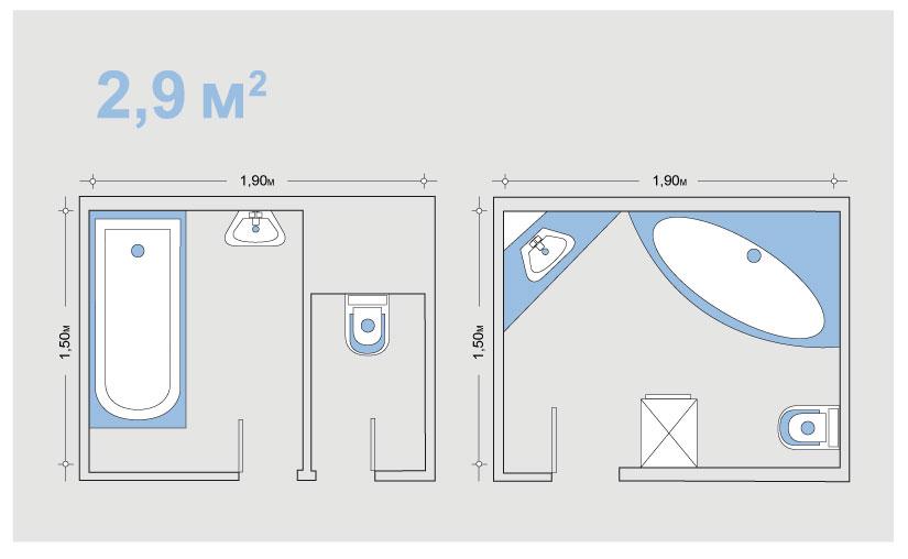 Дизайн ванной комнаты 2 9 кв м