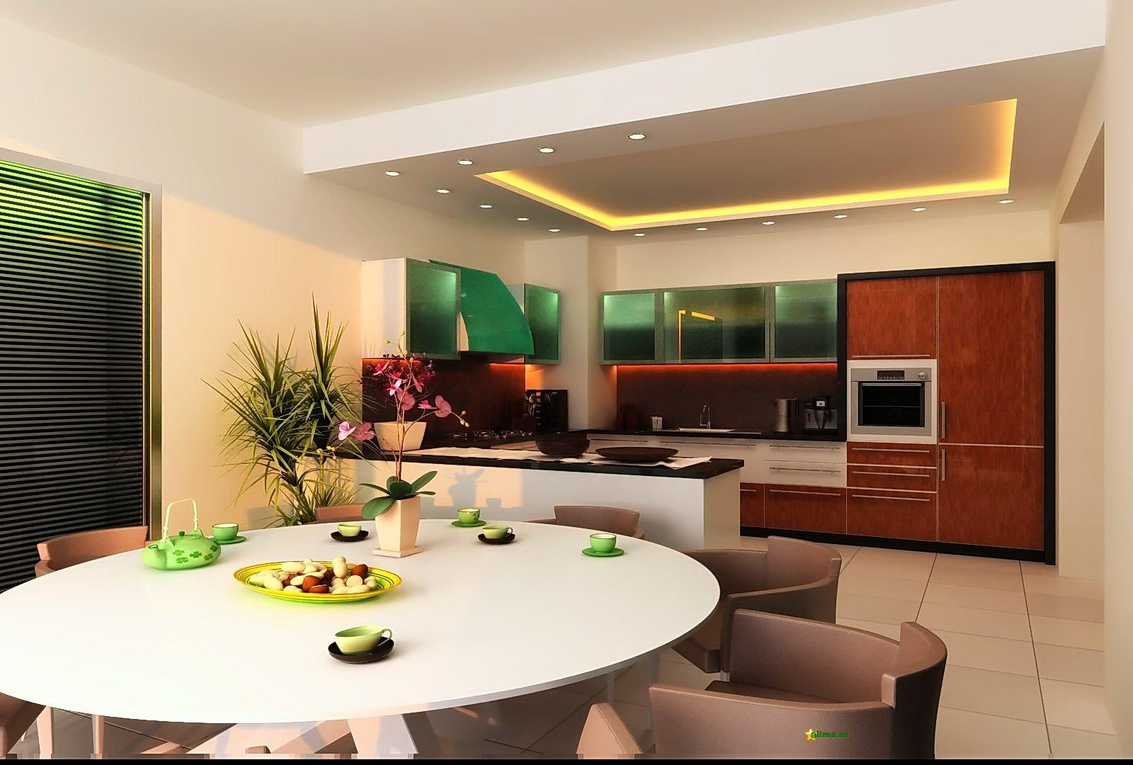 Дизайн проект потолка в кухне-гостиной фото